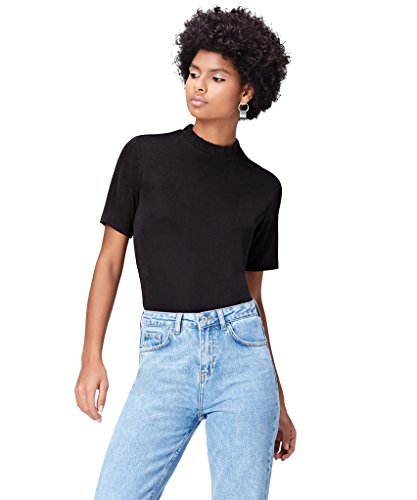 Amazon-Marke: find. T-Shirt Damen mit lockerer Passform, Schwarz (Black), 38, Label: M