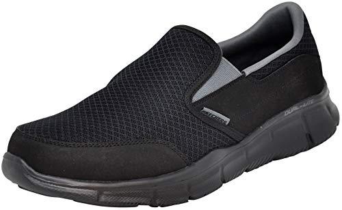 Skechers Men's Equalizer Persistent Slip-On Sneaker, Black/Charcoal, 10.5 M US