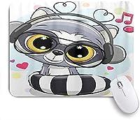KAPANOU マウスパッド、かわいい漫画のアライグマのヘッドフォン おしゃれ 耐久性が良い 滑り止めゴム底 ゲーミングなど適用 マウス 用ノートブックコンピュータマウスマット