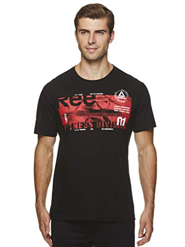 Reebok Men's Graphic Workout Tee - Short Sleeve Gym & Training Activewear T Shirt - Fulcrum Black, Small