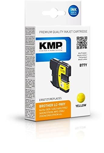 KMP B77Y Ink Cartridge Yellow Compatible w. Brother LC-980 Y Marca KMP