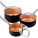 MICHELANGELO Saucepan Set 3 Piece, Nonstick 1Qt & 2Qt & 3Qt Copper Sauce Pan Set with Lid, Small Pot...