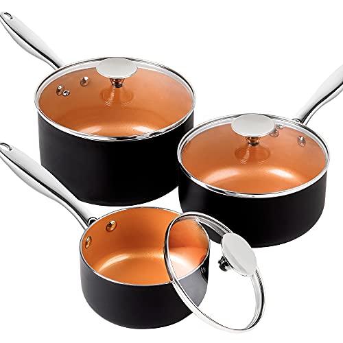 MICHELANGELO Saucepan Set 3 Piece, Nonstick 1Qt & 2Qt & 3Qt Copper Sauce Pan Set with Lid, Small Pot with Lid, Ceramic Nonstick Saucepan Set, 1Qt+2Qt+3Qt
