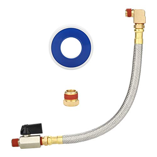 HK Extended Tank Drain Valve Assembly, 10 Inch Flexible Braided Steel Tube Air Compressor Tank Drain Hose 1/4 inch NPT, 90 Degree Brass Elbow Shut-Off Ball Valve, Pipe Fitting and Thread Seal Tape -  IT0289-VTUS