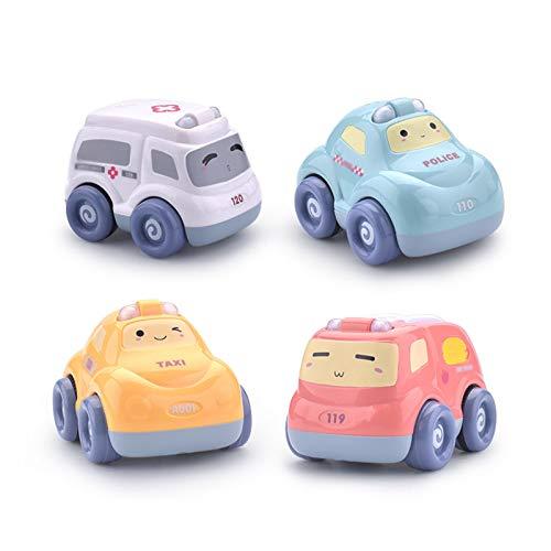 4Psc Cartoon Car Sound and Light Puzzle Pull Back Set De Coche Juguete para Niños Toy Coche Regalo para Niños Niños Anddler Boys and Girls,4psc