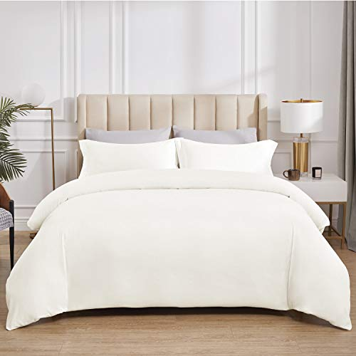 Bedsure Off White Duvet Cover Twin Set Zipper Closure (68x90 Inch) Ultra Soft Brushed Microfiber Bed Cover 2-Piece Bedding Comforter Cover with Corner Ties and 1 Pillow Sham Easy Care