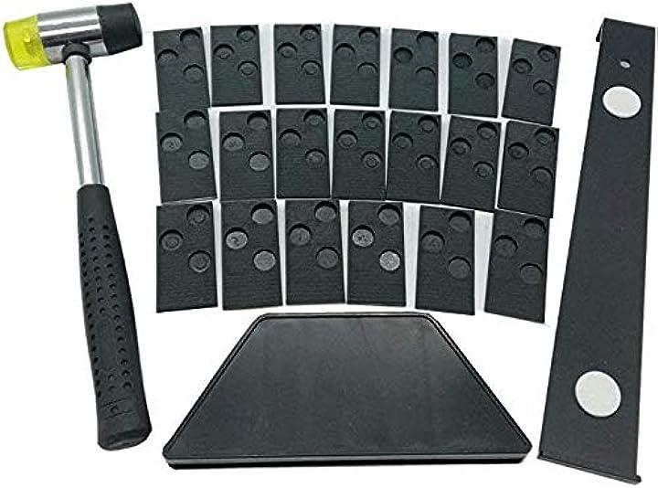 Kit installazione da pavimenti in legno laminato 20 distanziatori,blocco spillatura,barra trazione e martello B08BC7T46Q