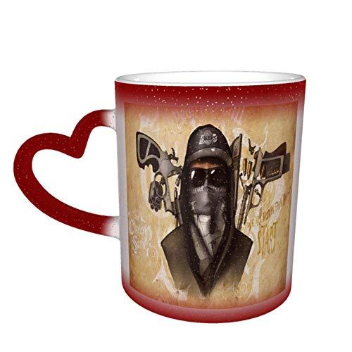 Taza creativa con diseño de calavera de gángster para cambiar de color, divertida taza de café de cerámica, la primera opción para regalos de vacaciones y cumpleaños