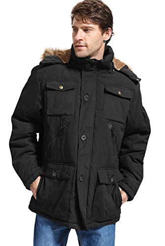Yozai Mens Winter Parka Insulated Warm Jacket Military Coat Faux Fur with Pockets and Detachable Fur Hood 370 Black X-Large