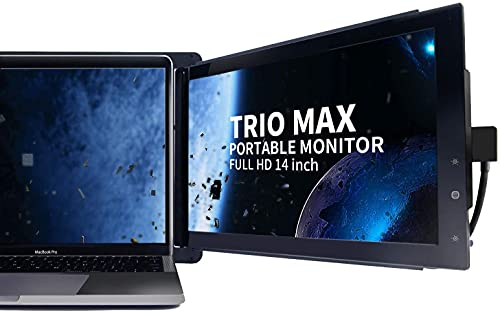 "Mobile Pixels Trio Max Portable Monitor, The On-The-Go Dual-Screen Laptop Monitor, 14"" Full HD IPS Display, USB A/Type-C, Plug and Play, Sleek Design (1pc 14"" Trio Max)"