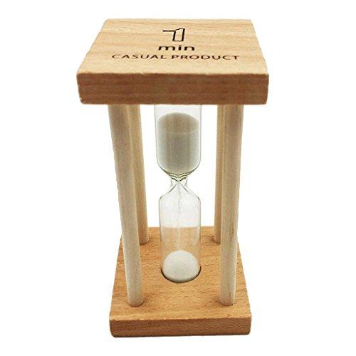 Baoblaze 1 Minuten Holzrahmen Sanduhr Zahnuhr Zahnputzuhr mit Sand Dekoration - 4,5 x 9 cm - Weiß