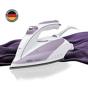 Braun TS505 – Plancha ropa vapor, 2000w, suela cerámica, suela eloxal, vapor vertical, control vapor variable, blanco y púrpura
