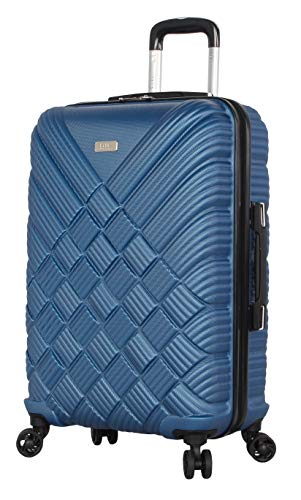 Nicole Miller New York Luggage Collection - 24 Inch (ABS+PC) Hardside Suitcase - Lightweight Designer Checked Bag with 8-Rolling Spinner Wheels (Basket Weave Dark Lake Blue)