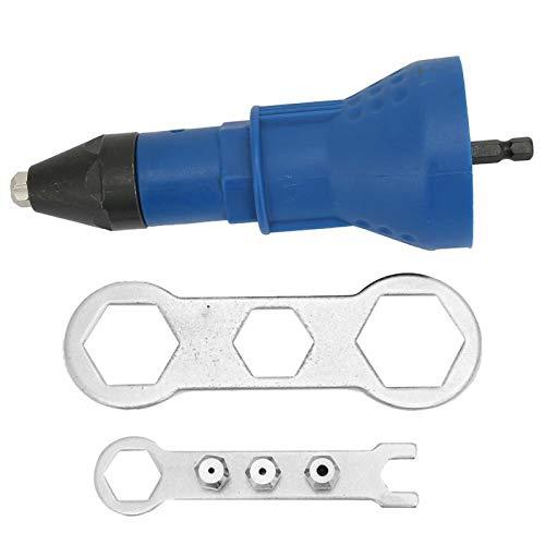 Adaptador de pistola de remache eléctrica de, kit de herramientas de remachado con diseño de tres garras, adaptador de inserto de taladro remachador, remaches ciegos(Azul)