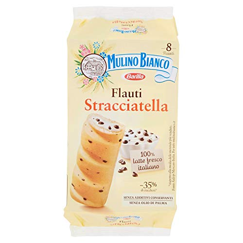Mulino Bianco Merendine Flauti alla Stracciatella, Snack Dolce per la Merenda, 280 g