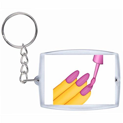 Druckerlebnis24 Schlüsselanhänger Nagellack Rucksackanhänger, Taschenanhänger, Keyring, Emoji,...