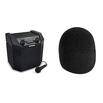 ION Audio Tailgater Plus - 50W Portable Outdoor Wireless Bluetooth Speaker with 50 Hour Battery Microphone Radio and USB Charging & On-Stage Foam Ball-Type Microphone Windscreen Black