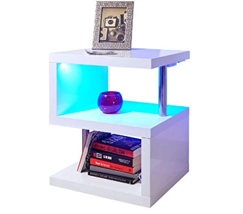 Ejoyous Modern LED Light End Table, Wooden S Shape Fashion Coffee Table, 2 Tier Storage Shelf Organizer, Sofa Couch Bedside Cube End Desk, Bedroom Living Room Display Shelf Office Study (White)