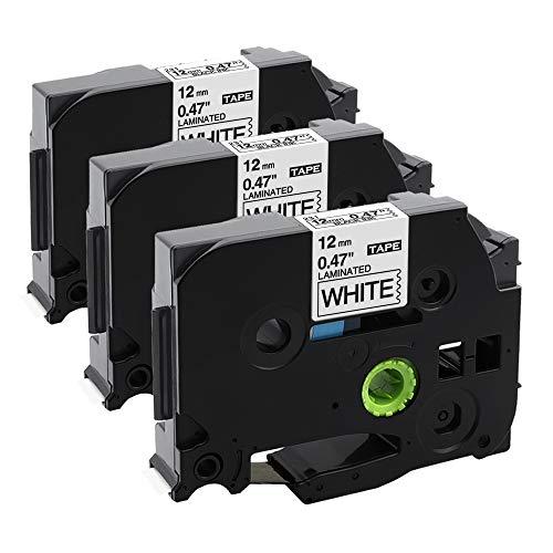 Airmall kompatible Schriftband als Ersatz für Brother P-touch Bänder TZe-231 TZ-231 TZe Tape Cassette 12mm x 8m Kompatibel mit P-touch H110 H105 1000 1010, Schwarz auf Weiß x 3