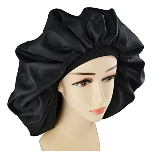fervory Bonnet De Nuit Bonnet De Sommeil Imperméable Bonnet De Douche Soins des Cheveux Féminins Protéger Les Cheveux Grand Chapeau en Satin De Soie Bonnet De Sommeil