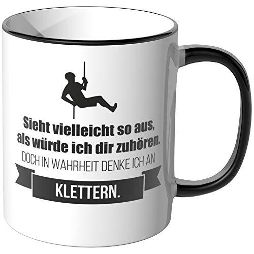 JUNIWORDS Tasse - Ich denke an Klettern - Wähle Motiv & Farbe - Schwarz