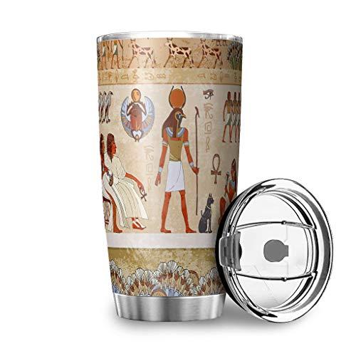 Dessionop Botella de agua Tumbler con diseño de dios y faraones, mitología, impresión artística, botella de agua de 20 onzas, antigoteo, tapa blanca, 600 ml