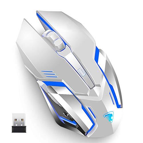 Uciefy X96 - Ratón inalámbrico para videojuegos, recargable, silencioso, 4 ratones ópticos con receptor nano USB, 3200 DPI láser de alta precisión para ordenador/portátil/Mac/PC (blanco)