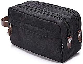 Men's Travel Toiletry Bag Dopp Kit - Dual Compartments with Handle (Black)