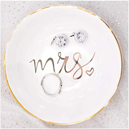 Quany Life Mrs Jewelry Dish Ceramic Ring Trinket Tray Wedding Gift for Bride Desk Storage for Mrs Engaged Gifts Mr Mrs Gold Engagement Gifts Friend