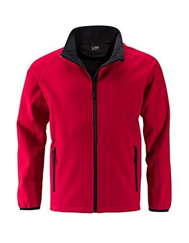 Men`s Promo Softshell Jacke Herrenjacke atmungsaktiv winddicht Herren Übergangsjacke, Größe:3XL, Farbe:Red-Black