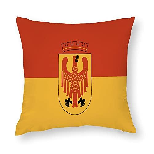 Flagge Potsdam in Brandenburg Deutschland Kissenbezug Quadratisch Dekorative Kissenhülle für Sofa Couch Zuhause Schlafzimmer Indoor Outdoor Niedlich Kissenbezug 45,7 x 45,7 cm