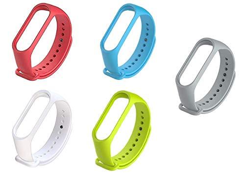 Kit 5 Pulseiras extras para MI BAND 4 - New Version (Vermelha+Azul+Branca+Verde+Cinza)
