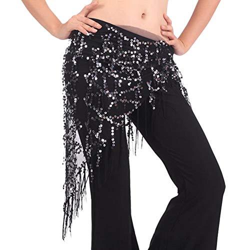 Shaoyao Bufanda De Cadera Mujer para Danza del Vientre Práctica Disfraz Fiesta Falda De Baile Latino Plata Negro Un tamaño