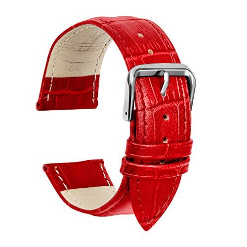 Ullchro Cinturino Alta qualità in Vera Pelle Cinturini Orologi Accessori Bordatura Cucita - 12,14,16,18,19,20,21,22,24 mm Cinturino Orologio con Fibbia Dell'acciaio Inossidabile (21mm, rosso)