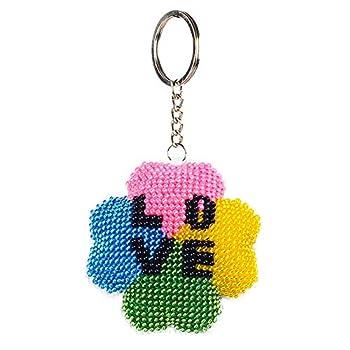 hneizgs Handmade Keychain Gift DIY Full Beads Flower Love Embroidery Keychain Cross Stitch Pendant Jewelry
