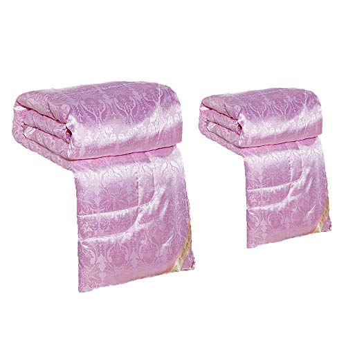 VEDKYY Mulberry Silk Duvets King Size All Seasons Duvet Double Anti Allergy Lightweight Queen Quilts Single Double Duvet Kingsizes 13.5 Tog,2 in 1 Heavy Duvet Winter,Pink,180 * 220(4.5 10.5tog)