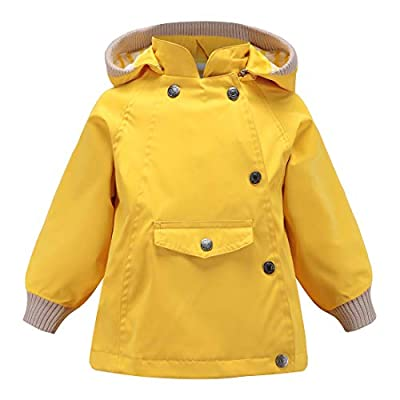ACESTAR 100% Waterproof Rain Jacket Coat,Boys Girls Windproof Raincoat Windbreaker Outwear for Kids Children Infant Toddler Spring Fall Jacket(JK007Y0,2T) Yellow
