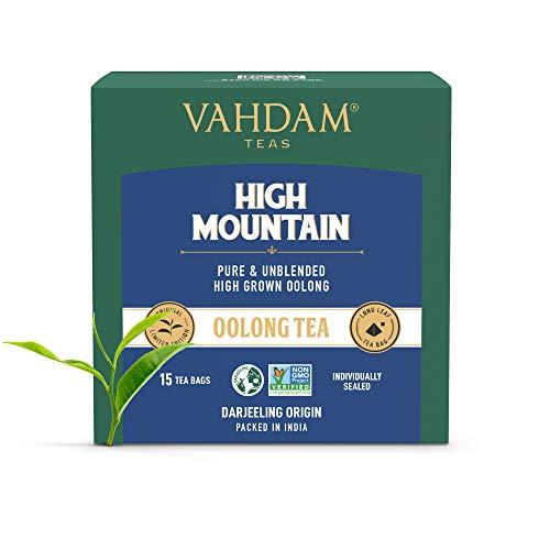 VAHDAM, Himalaya-Oolong-Teebeutel (15 Loser Tee Teebeutel)   100% natürlicher Detox-Tee, Oolong-Tee-Loseblatt-Pyramiden-Teebeutel, heißer Tee, Eistee oder Kombucha-Tee   High Mountain Oolong Tea