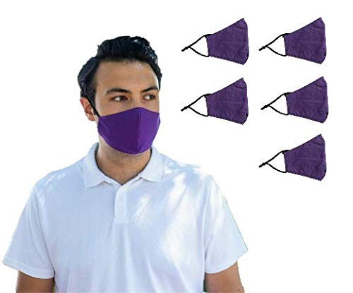 [5-Pack] Purple Unisex Triple-Layer Cotton Face Masks w/ Pouch for Filter Inserts Plus One PM2.5 Filter In Each Mask | Reusable Masks with Adjustable Ear Loops | Protective Mask for Indoors and Outdoors