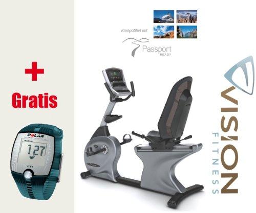 Vision Fitness R40i Touch Halbliegeergometer - Ergometer inkl. FT1 Polar Pulsuhr und T31 Brustgurt