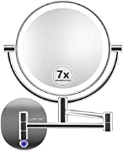 Makeup Mirror Wall Mounted, Rechargeable 1X/7X Magnifying Vanity Mirror with Lights, Dimmable Two-Sided Battery Powered 27LED Lighted Cosmetic Mirrors with Touch Switch for Bathroom/Bedroom/Hotel