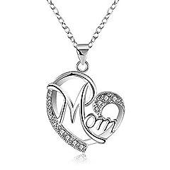 Idea Regalo - Regali Festa della Mamma, Deesos Collana miglior regalo per il compleanno della mamma cuore diamante collana pendente per la mamma compleanno Argento