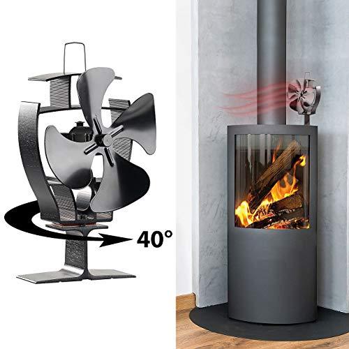 Carlo Milano Kamin Ventilatoren: Stromloser Kaminofen-Ventilator mit 40°-Oszillation, für 70-350 °C (Holz-Ofenventilator)