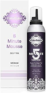 Fake Bake 5 Minute Mousse Instant Sunless Self Tanning | Super Quick Speed-Dry Formula | Long-Lasting Natural Golden Glow |Easy Application Gloves Included | 7 oz