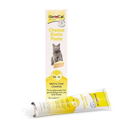 GimCat Cheese Biotin, Pasta de Queso con biotina - con Queso aromático, Zinc y Aceite de linaza para Pelaje, Piel y Garras - 1 Tubo (1 x 50 g)