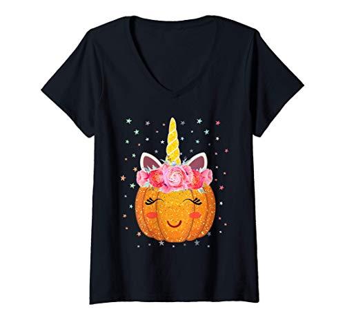 Mujer Disfraz de Halloween floral de cara de calabaza de Unicornio Camiseta Cuello V