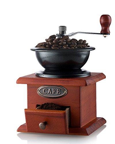 Gourmia GCG9310 Manual Coffee Grinder Artisanal Hand Crank Coffee Mill With Grind Settings & Catch Drawer 11.5 x 11.5 x 17.5 cm