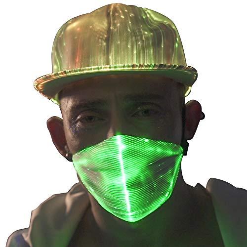 7 Colors Led Flashing Light Up Rave Dust Mask USB Rechargeable Luminous Fiber Optic Glowing Party Mask for EDM EDC Men Women Christmas New Year Festival White