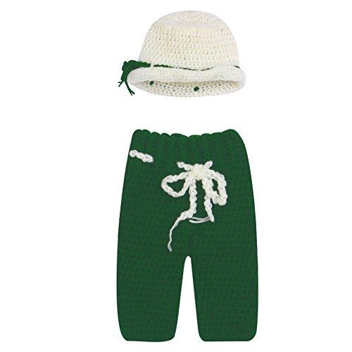 La Cabina Accessoires Photographie de Bébé Vêtement de Baptême Vêtement Bébé de Photographie Tricoter Chapeau+Pantalon Covers 2PCS pour 0-6 Mois Bébé (Vert)