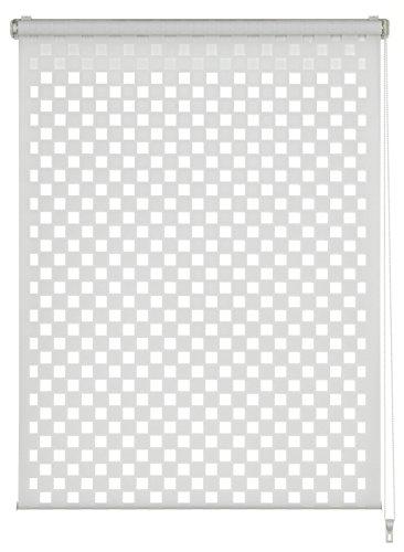Gardinia dubbel rolgordijn om te klemmen of te lijmen, duo-rolgordijn, rolgordijn met trekkoord aan de zijkant, transparant en ondoorzichtig, alle montageonderdelen inclusief, cut-out vierkant, wit
